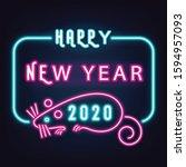 happy new year 2020 neon text... | Shutterstock .eps vector #1594957093