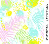pattern with tropical leaves... | Shutterstock .eps vector #1594969339