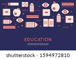 book education banner  flat...   Shutterstock .eps vector #1594972810