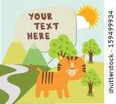 tiger in garden with text | Shutterstock .eps vector #159499934