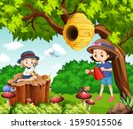 scene with kids in the park... | Shutterstock .eps vector #1595015506