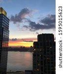 New York City Sunset On The...