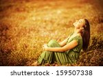 romantic woman wearing long... | Shutterstock . vector #159507338