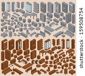 isometric furniture collection. ...