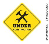 under construction road sign... | Shutterstock .eps vector #1595099200