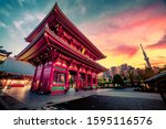 Sensoju Temple with dramatic sky and Tokyo skytree inTokyo, Japan