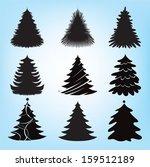 christmas tree silhouette...   Shutterstock .eps vector #159512189