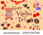 happy happy valentine's day... | Shutterstock . vector #1595150740