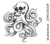 human skull with octopus... | Shutterstock .eps vector #1595156539