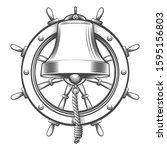 nautical emblem with ship bell... | Shutterstock .eps vector #1595156803