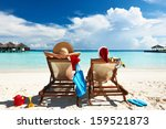 couple on a tropical beach at... | Shutterstock . vector #159521873