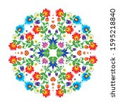 mexican flower embroidery... | Shutterstock .eps vector #1595218840
