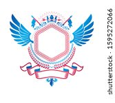 graphic winged emblem created... | Shutterstock .eps vector #1595272066