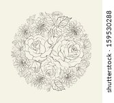 hand drawn bouquet of roses. ... | Shutterstock . vector #159530288