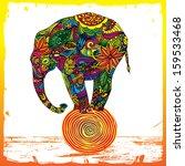 funny elephant standing on ball   Shutterstock .eps vector #159533468