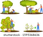 agricultural workers.... | Shutterstock .eps vector #1595368636