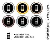 cell phone icon metal icon set. ... | Shutterstock . vector #159537296