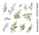 a large set of watercolors... | Shutterstock . vector #1595374669