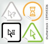 pixel cursor icon on sticker... | Shutterstock .eps vector #159545336