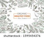 hand drawn organic food.... | Shutterstock . vector #1595454376
