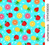 summer seamless pattern with... | Shutterstock .eps vector #1595458000