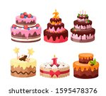 Tiered Cakes Colorful Flat...