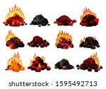burning coal set. realistic... | Shutterstock .eps vector #1595492713