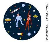 astronauts funny teens  rockets ... | Shutterstock .eps vector #1595507983
