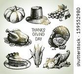 thanksgiving day set. hand... | Shutterstock .eps vector #159552980