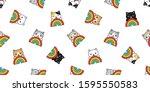 cat seamless pattern rainbow... | Shutterstock .eps vector #1595550583