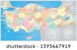 turkey detailed political map ... | Shutterstock .eps vector #1595667919