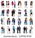 """Small photo of Collection """"Back view of walking young couple"""". Rear view people collection. backside view of person. Isolated over white background. young couples in official and street clothes moved"""