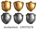 design,frame,glossy,gold,golden,iron,metal,security,set,shield,symbol,vector