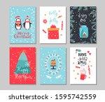 set of winter holidays greeting ... | Shutterstock .eps vector #1595742559