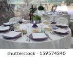 reception dinner tables  | Shutterstock . vector #159574340