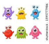 set of cute funny monster... | Shutterstock .eps vector #1595777986