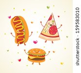 cute fast food. hot dog  pizza  ... | Shutterstock .eps vector #159583010