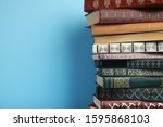 stack of hardcover books on... | Shutterstock . vector #1595868103