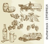 alcohol,banner,barrel,beer,beverage,bottle,brewed,brewery,car,carriage,design,drink,froth,glass,hand drawn