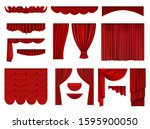 red curtains. textile... | Shutterstock .eps vector #1595900050