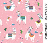 seamless pattern with llama ... | Shutterstock .eps vector #1595921479