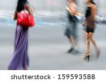 people shopping in the city in... | Shutterstock . vector #159593588