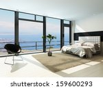 Stock photo contemporary modern sunny bedroom interior with huge windows 159600293