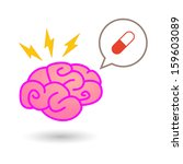 brain with comic balloon | Shutterstock .eps vector #159603089