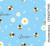 Seamless Pattern Of Flying Bee...