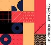 mid century geometric abstract... | Shutterstock .eps vector #1596049630