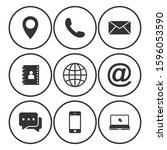contact us icons. web icon set  ... | Shutterstock .eps vector #1596053590
