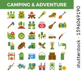 camping and outdoor adventure... | Shutterstock .eps vector #1596069190