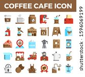 coffee cafe flat icons. pixel... | Shutterstock .eps vector #1596069199