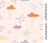clouds and birds  abstract... | Shutterstock .eps vector #1596076123